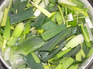 soaking leeks