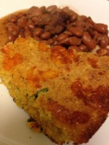 cornbread and frijoles