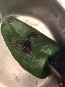 sweating poblano chili