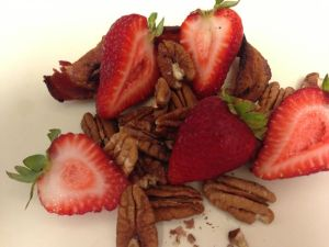 strawberries, bacon and pecans